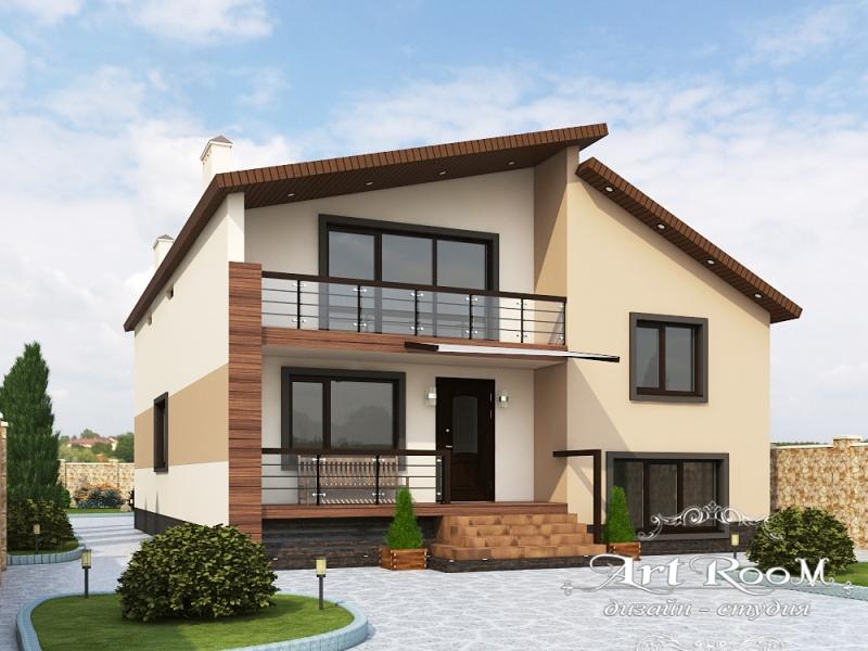 3D Визуализация фасада дома 2 Нагорная 30  №1